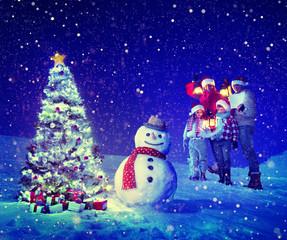 Christmas Tree Family Snowman Celebration Concept