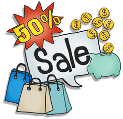 Group of Icons Isolated White Sale Shopping Concepts