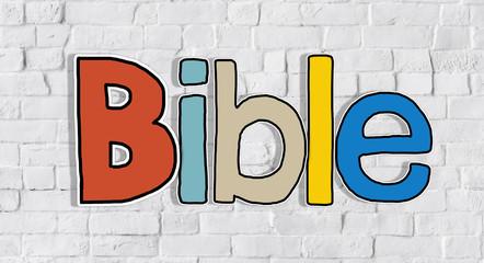 Bible White Brick Wall Background Single Word