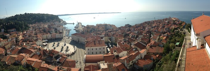 Sea city Piran panoramic view
