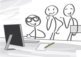 Besprechung am Computer