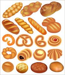 set of bread wheat on white