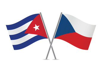 Czech and Cuban flags. Vector illustration.