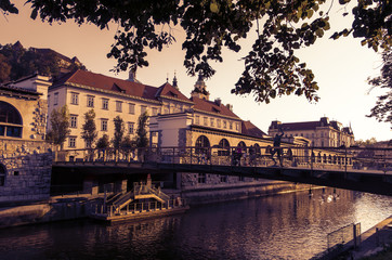 Ljubljana River in Slovenia at sunset