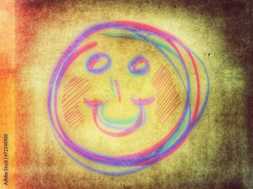 canvas print picture farbiger lachender Smiley...