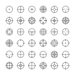 Set of different flat vector crosshair sign icons. Line simple