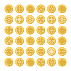 Set of different flat vector crosshair sign icons with long
