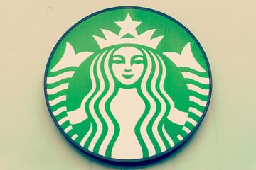 BANGKOK, THAILAND - OCT 29, 2014: The Starbucks Coffee sign at T