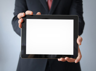 businessman with blank display tablet