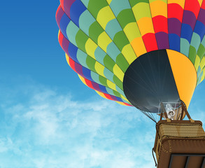 Beautiful Hot Air Balloon against a deep blue sky.