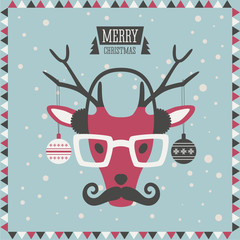 Christmas greeting card. Hipster fashion animal. Reindeer.