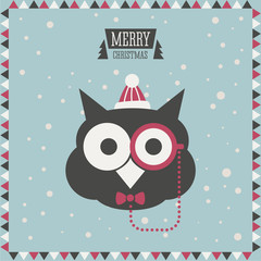 Christmas greeting card. Hipster fashion animal. Owl.