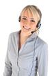 Leinwanddruck Bild - Frau mit Headset