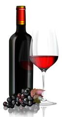 Rotweinglas mit Rotweinflasche, Weintrauben freigestellt