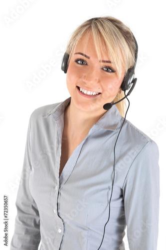canvas print picture Frau mit Headset