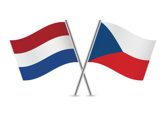 Czech and Netherlands flags. Vector illustration.