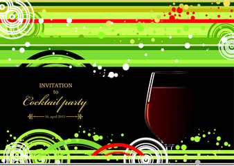 Green and yellow doted  background with wine glass of wine. Vect