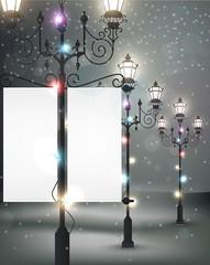 Christmas background with streetlight