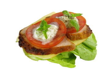appetizing sandwich with meat and tomato on white background