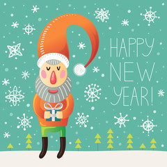 Happy new year greeting card with Santa Claus and snowflakes