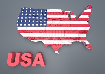 U.S.A. mapped flag in 3D illustration .