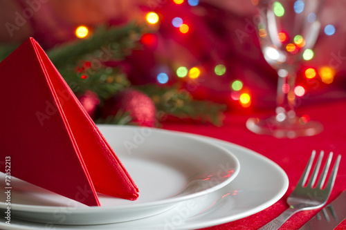 Christmas table with cutlery and tableware abstract background - 72352213