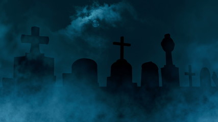 Sliding cam animation of a scary, spooky cemetery scenery