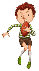 A simple drawing of a young rugby player