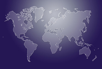 Minimalistic purple world map illustration