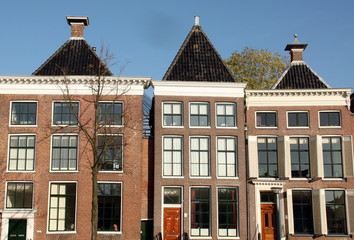Historic houses in the city of Groningen. Netherlands