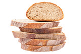 Stack of slices of bread isolated on white background.