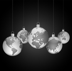 Christmas ornaments with world dotted maps - Christmas travel