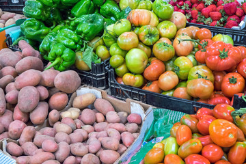 Fresh vegetables for sale at a market