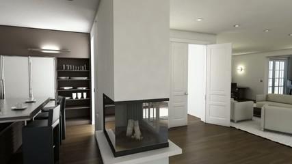 3D Wohnraum Animation Innenansicht