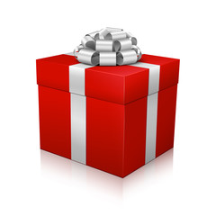 Geschenkpaket, Geschenk, Weihnachtsgeschenk, Rot, Silber, 3D
