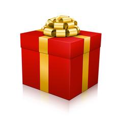 Geschenkpaket, Geschenk, Weihnachtsgeschenk, Gold, Rot, 3D