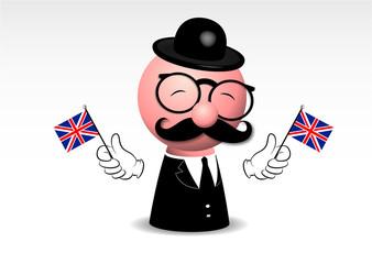mascotte, professore inglese, pupazzo,