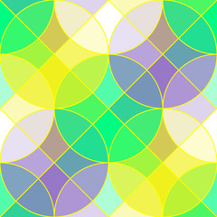 Stained glass tiles geometric seamless pattern