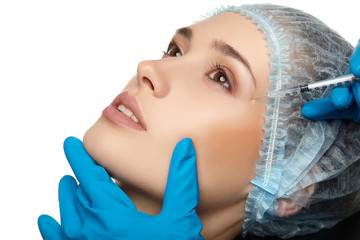 Beauty Woman face surgery close up portrait.