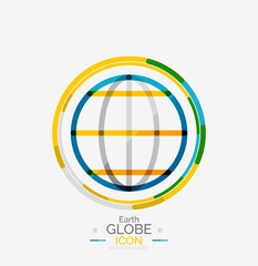 World globe logo stamp