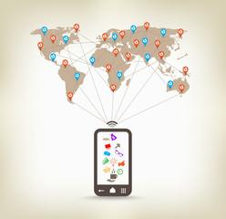 Global  smartphone communication concept stock