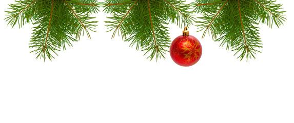 Christmas tree branches and Christmas balls.