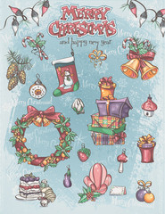 Set of Christmas holiday items, as well as background and greeti