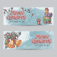 Set of horizontal Christmas cards with flashlights, bells and gi