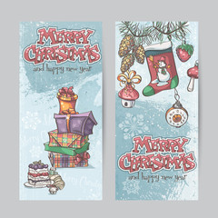 Set of vertical Christmas cards with flashlights, bells and gift