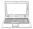 canvas print picture - laptop notebook computer cute line art