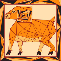 Chinese horoscope stylized stained glass - ram