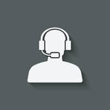 man call center support symbol poster