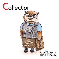 Alphabet professions Owl Letter C - Collector Vector Watercolor.