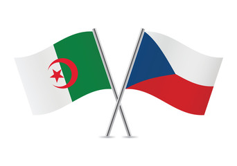 Czech and Algerian flags. Vector illustration.